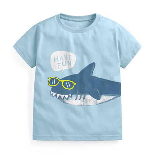 鯊魚印花T恤-童