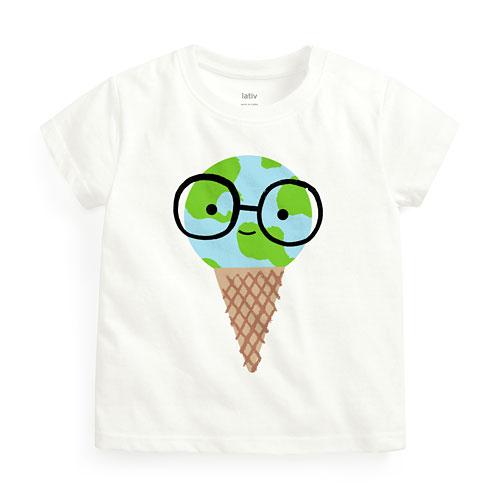 地球甜筒印花T恤-Baby