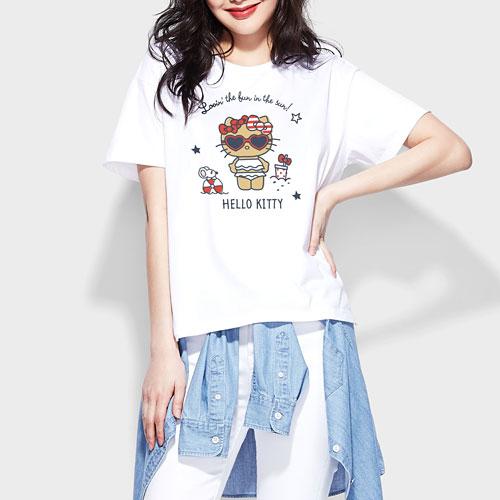 Hello Kitty寬版印花T恤-09-女