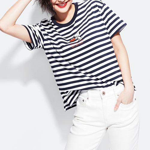 史努比寬版條紋印花T恤-16-女