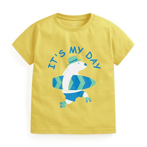衝浪北極熊印花T恤-童