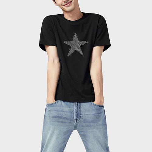 星星印花T恤-男