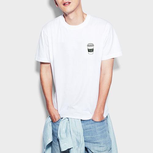 咖啡印花T恤-男