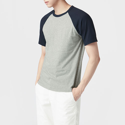 純棉拉克蘭袖T恤-男