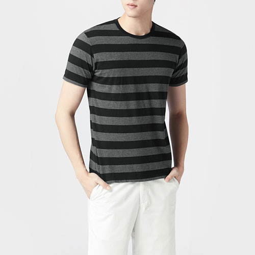 純棉條紋圓領T恤-男