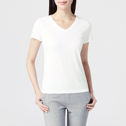 純棉V領T恤-女