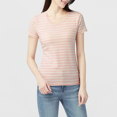 Bra圓領條紋T恤-女