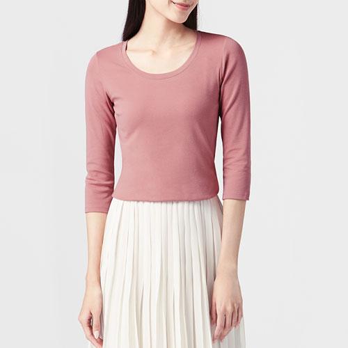 棉質羅紋七分袖T恤-女
