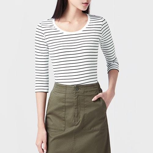 棉質羅紋條紋七分袖T恤-女