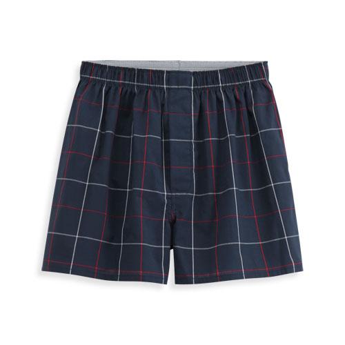 純棉格紋四角褲-男