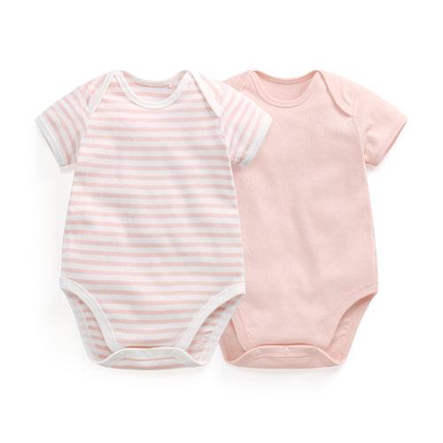 純棉羅紋條紋包臀衣(2入)-Baby