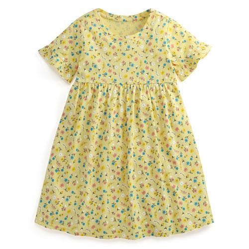 純棉荷葉袖洋裝-童