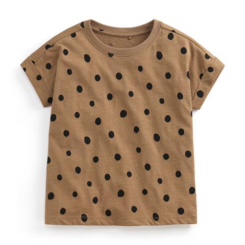 竹節棉點點寬鬆T恤-童