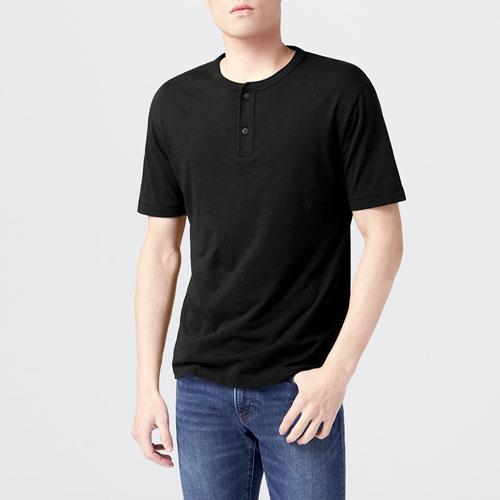 竹節棉亨利領T恤-男