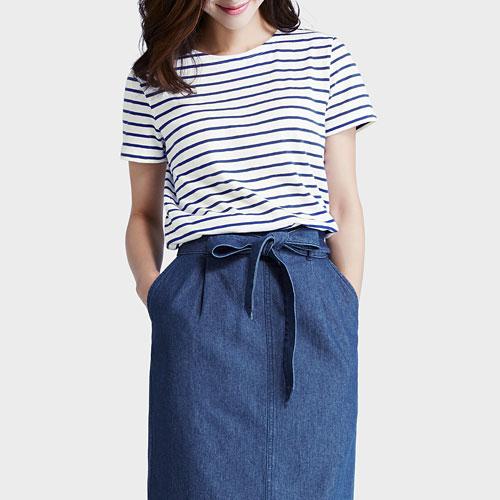 竹節棉條紋短袖T恤-女