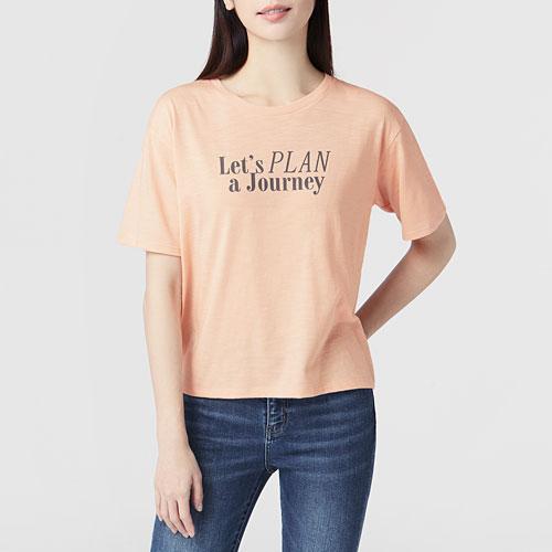 竹節棉寬鬆文字T恤-女