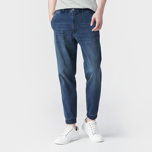 牛仔束口褲-男