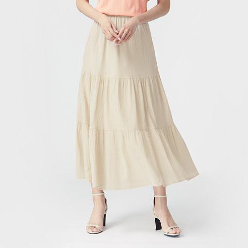 棉質蛋糕長裙-女