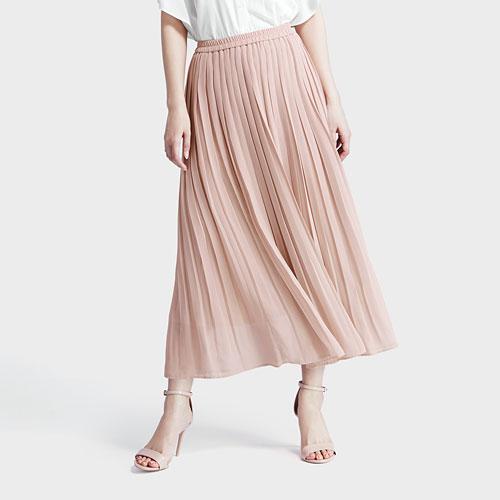 高腰雪紡細褶裙-女