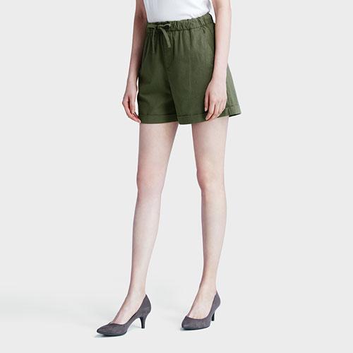 棉麻短褲-女