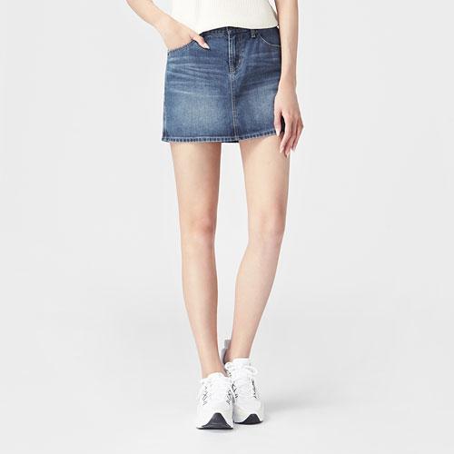 牛仔連褲短裙-女