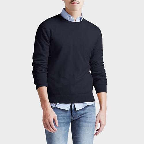 棉質圓領針織衫-男