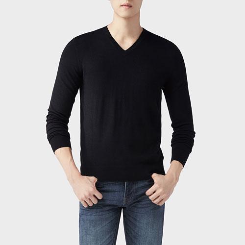 棉質V領針織衫-男