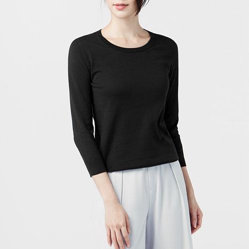 棉質七分袖針織衫-女