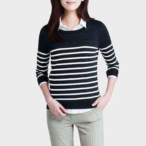 棉質條紋七分袖針織衫-女