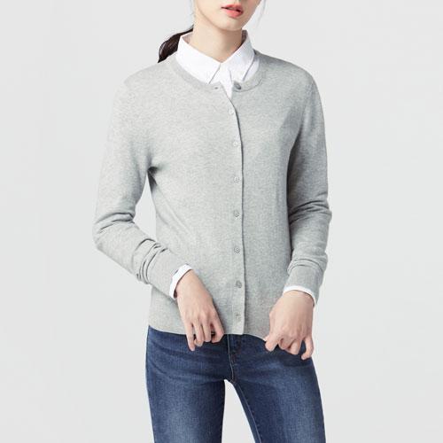 棉質圓領針織外套-女