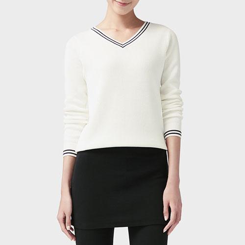 棉質V領配色針織衫-女