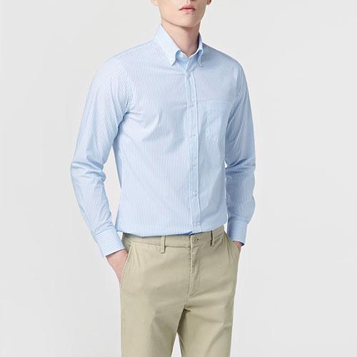 商務彈性條紋長袖襯衫-男
