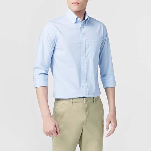 商務彈性格紋長袖襯衫-男
