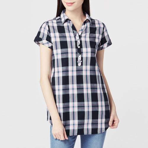 格紋短袖長版襯衫-女