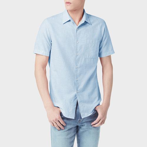 棉麻短袖襯衫-男