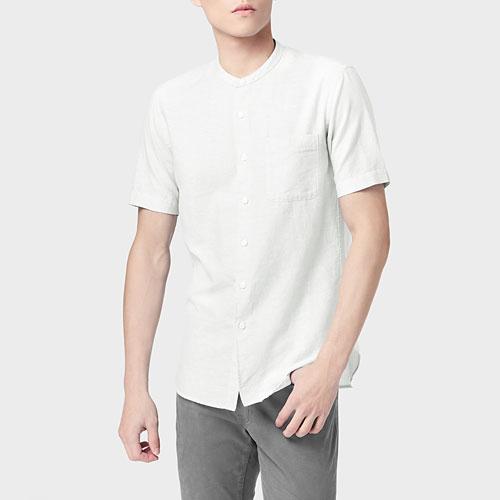 棉麻立領短袖襯衫-男