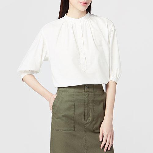 竹節棉七分袖襯衫-女