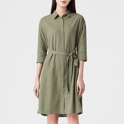竹節棉七分袖襯衫洋裝-女