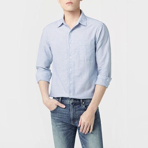 棉麻條紋長袖襯衫-男