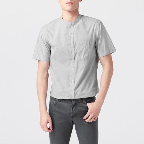 柔棉立領短袖襯衫-男