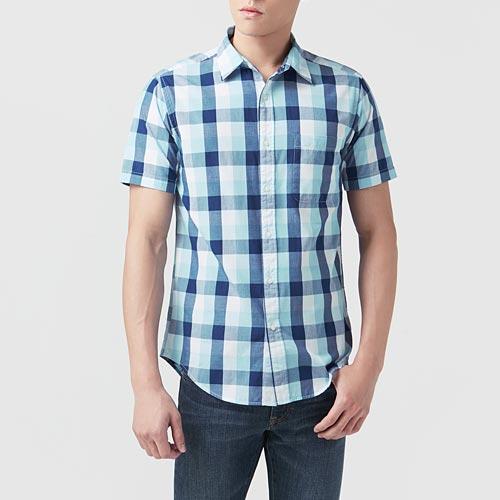格紋短袖襯衫-男