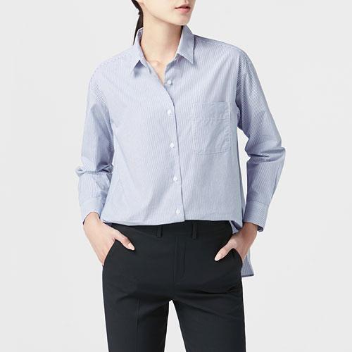 柔棉寬版條紋襯衫-女