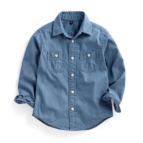 牛仔長袖襯衫-童