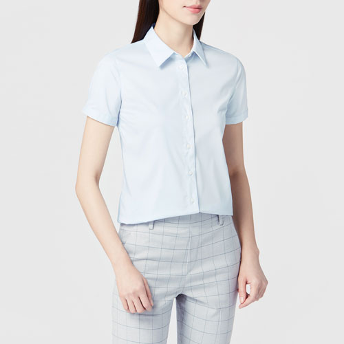 商務彈性短袖襯衫-女