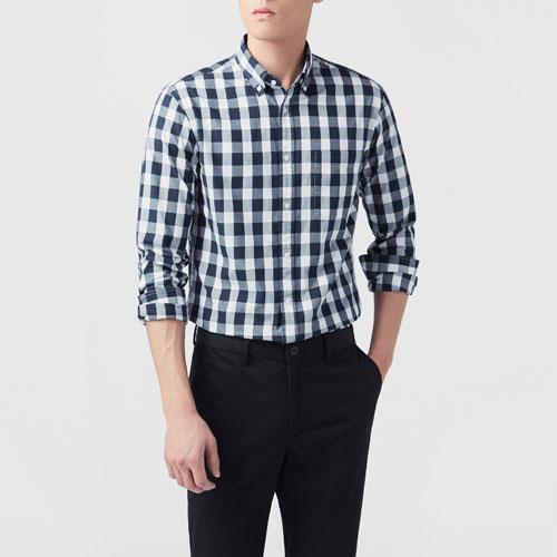格紋長袖襯衫-男