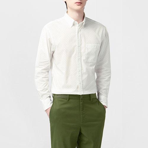 柔棉印花長袖襯衫-男
