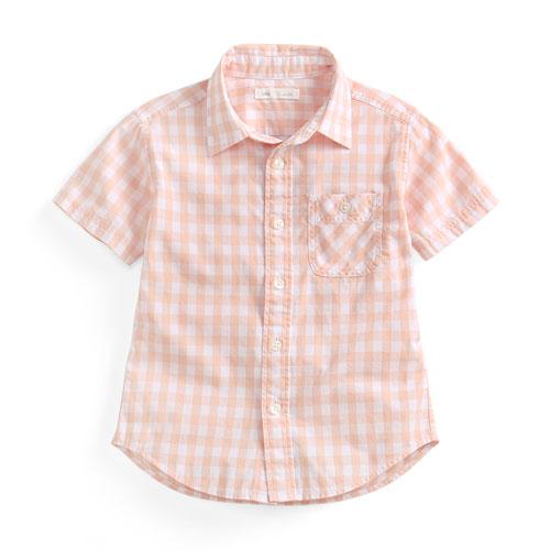 格紋短袖襯衫-童