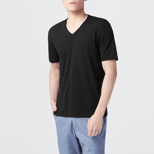竹節棉V領T恤-男