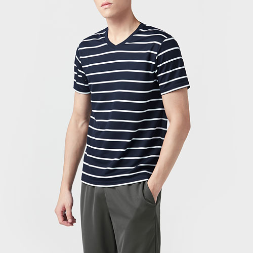 吸排V領條紋T恤-男
