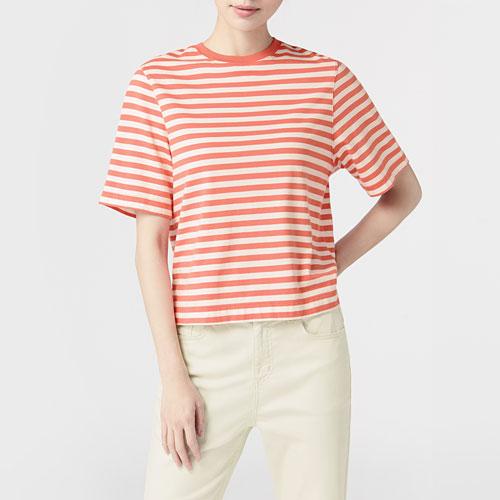 純棉條紋短版圓領T恤-女